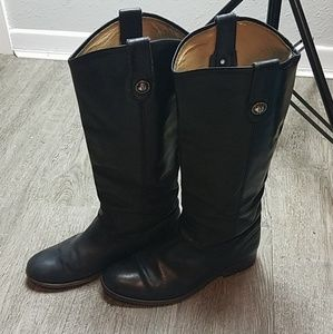 Frye Black Leather Melissa Button Tall Boots 7.5B